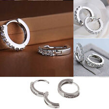 New Fashion Single Row Round Zircon Hoop Earrings White Gold Earrings 1Pair