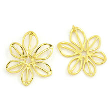 10 PCs Copper Earring Pendants Hexapetalous Flower Gold Plated 23mmx18.5mm