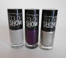 3x Nail Polish Maybelline Color Show Plum Paradise/Cool Touch/Pedal to the Metal