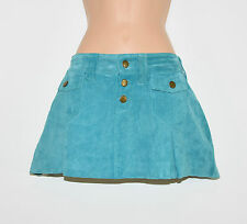 "Vintage Blue Leather PRIMARK Pencil Women's Short Mini Skirt Size UK8 W31"" L12"""
