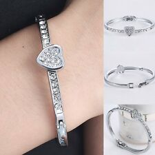 Hot Fashion Silver Crystal Love Heart Charm Bracelet Bangle Wedding Jewellery