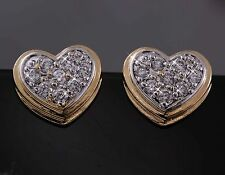 18K Yellow & White Gold Two-tone GF Pave Simulated Diamond Heart Earrings
