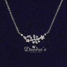 New Fashion 18K White Gold Plated Zircon Flowers Pendant Necklace