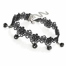 Black Lacey Look Flower Design Choker Necklace With Black Bead Drops