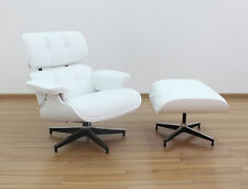 Eames Inspired Lounge Chair & Ottoman, White Semi-Aniline Leather & White Shell