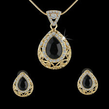 Woman's Party Jewelry Set Black Teardrop Topaz Pendant Necklace +Earrings Gifts