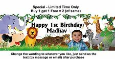 1st Birthday Party Banner Sign with your Baby PHOTO & Details JUNGLE ZOO ANIMALS