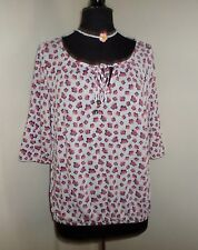 White Multi Floral Soft Stretch Jersey Tunic Top Size 16