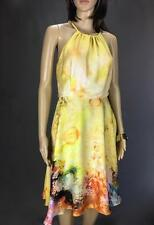 ** STELLA ** Size 10 Yellow Womens Watercolour Occasion Cocktail Dress - (A478)