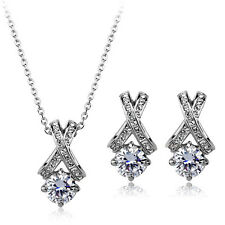 18K WHITE GOLD PLATED & GENUINE SWAROVSKI CRYSTAL NECKLACE & EARRING SET