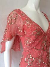 TEMPERLEY PINK SILK CHIFFON HEAVILY EMBELLISHED ROMANTIC TOP UK10