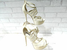 Ladies ALDO Beige Peep Toe Ankle Strap Heels UK 4 EU 37 RRP £60 ONLY £25