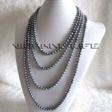 "100"" 5-7mm Gray Freshwater Pearl Necklace Strand Jewelry Dyed Color UE"