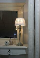 Light & Living Tischleuchte Tischlampe Delhi nickel weiß mit Perlen 100041