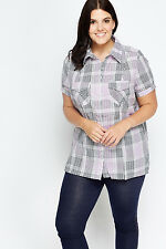 C&A Ladies Checked Casual Plus Size Short Sleeve Shirt, Purple, UK Size 26/28