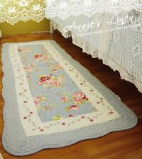 Shabby Blue Country Rose Victoria Laura Ashley Fa Quilted Bath/Bed Mat/Rug MM03