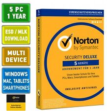 Norton Security 3.0 Deluxe 5 PC Geräte 1 Jahr 2016 2017 Mac Android