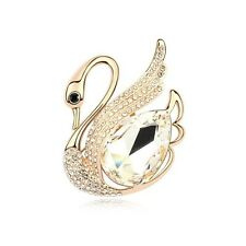 GORGEOUS 18K ROSE GOLD PLATED AND  GENUINE CUBIC ZIRCONIA CLEAR SWAN BROOCH