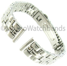 12mm Gilden Silver Tone Stainless Steel Center Clasp Ladies Watch Band 1056-S