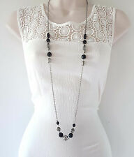 """Gorgeous boho style 40"""" long silver tone chain & black bead necklace"""