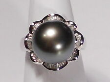 12.8mm black Tahitian pearl ring, diamonds, solid 14k white gold.