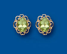 9ct Yellow Gold Peridot Oval Studs with Open Heart Surround *AP6839