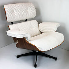 Designer Walnut & Corduroy Lounge Chair and Ottoman Inspired by Charles Eames