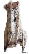 Sommer-Kleid Strandkleid Tunika Hängerchen Print Bänder Creme Gr. 38 40 M/L Neu*
