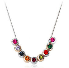 Elegant Silver & Colourful Crystal Small Balls Necklace Choker N83