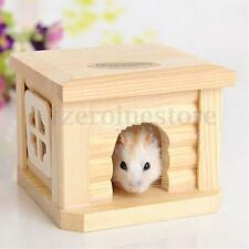 Toy Wooden Hamster House Bedroom Dwarf Cage Rat Mouse Gerbil Exercise Natural
