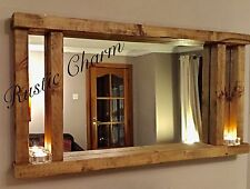 *Chunky Wooden Handcrafted  Rustic/Farmhouse/Driftwood Style Solid Mirror