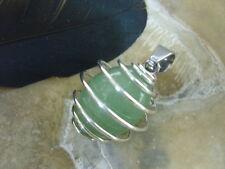 19 mm grüne Aventurin Olive Edelstein Ketten Anhänger im Perlenkäfig m.Edelstahl