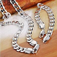 "18ct White gold filled Silver Men's Bracelet+necklace 23.6"" Chain Set xmas gift"