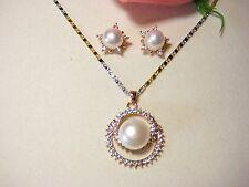 Schmuckset Halskette Ohrringe 925 Silber vergoldet Süßwasser perlen Schmuck