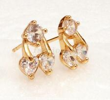 18K Yellow Gold Plated CZ Cubic Girl Lady Clear Cute Cherry Stud Earrings