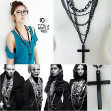 Retro Women Cross Pendant Statement Chunky Long Multilayer Chain Necklace Gift