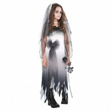 Gothic Kinder Kostüm Gr. 152 158  Horror Braut grau Karneval Halloween Mädchen