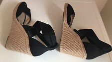 WOMAN Pied A Terre Wedge Slingback Shoes Sandals Black  UK 40 6.5