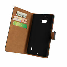 Black Genuine Real Leather Wallet Card Case Cover Stand for Nokia Lumia 929/930