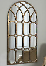 """Khadra Extra Large Vintage Aged Bronze Metal Arched Window Wall Mirror 59"""" x 31"""""""