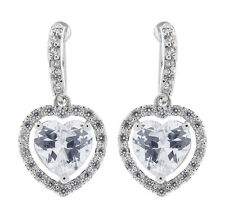 CLIP ON EARRINGS - silver plated drop earring CZ crystals & heart stone - Mel