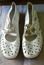 Remonte Dorndorf White Leather Silver Detail Mary Jane Shoes EU 42 UK 8 £49.99