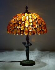 LUXURY TIFFANY LAMP -AMBER TABLE AND BEDSIDE LAMP- LA MONA CAST BRASS