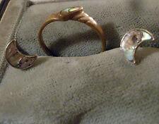 Schmuck-Set Goldring Perlmutteinlage Halbmond Ohrstecker 925er-Silber