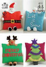"""KING COLE PATTERN 4111.  CHRISTMAS NOVELTY CUSHIONS. DK & CHUNKY.  14 """" approx."""