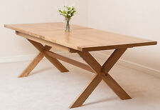 Vermont Solid Oak Wood Medium 200cm Extending Table Wooden Dining Room Furniture
