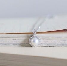 Brand New 925 Sterling Silver Chain Necklace Freshwater Pearl Pendant Wedding