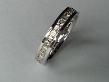1ct ROUND & BAGUETTE CUT DIAMOND FULL ETERNITY WEDDING RING BAND,18K WHITE GOLD