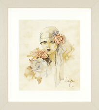 Lady With Pink Flower (Linen):  Lanarte Counted Cross Stitch Kit - PN0007972