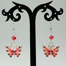 Red /pink butterfly earrings with rhinestones, red crystals, silver-plated hooks